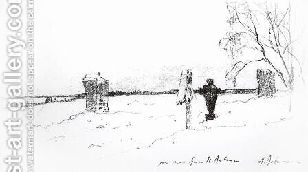 Winter landscape. Cemetery. by Isaak Ilyich Levitan - Reproduction Oil Painting