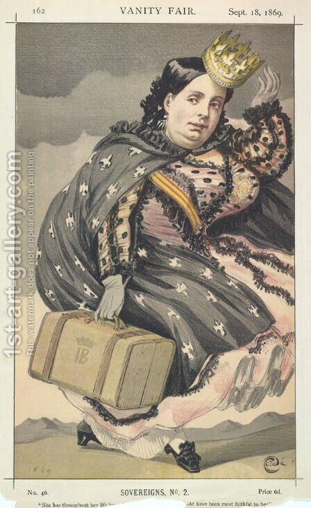 Sovereigns No.20 Caricature of Isabella II of Spain by James Jacques Joseph Tissot - Reproduction Oil Painting