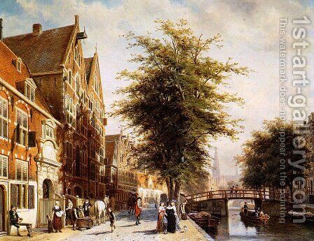 Lombard Voorburgwal Amsterdam by Cornelis Springer - Reproduction Oil Painting