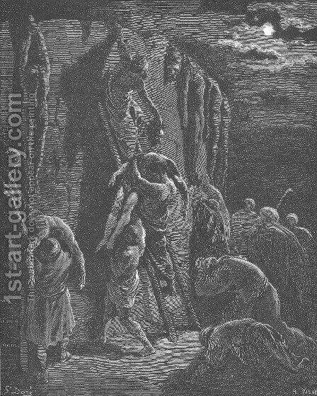 Jabesh-Gileadites Recover the Bodies of Saul and His Sons by Gustave Dore - Reproduction Oil Painting