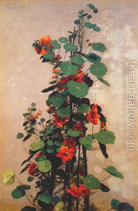 Nasturtiums 2 by Ignace Henri Jean Fantin-Latour - Reproduction Oil Painting