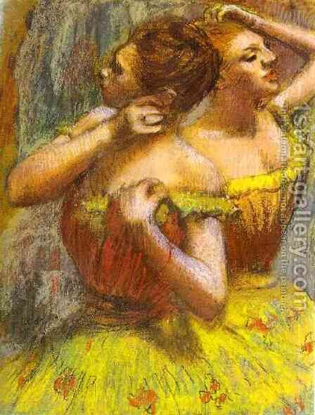 Two Dancers (pastel on paper) by Edgar Degas - Reproduction Oil Painting