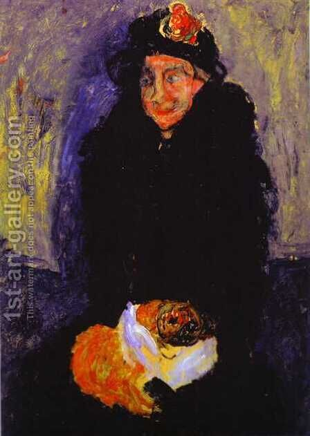 Old Woman with Dog by Chaim Soutine - Reproduction Oil Painting