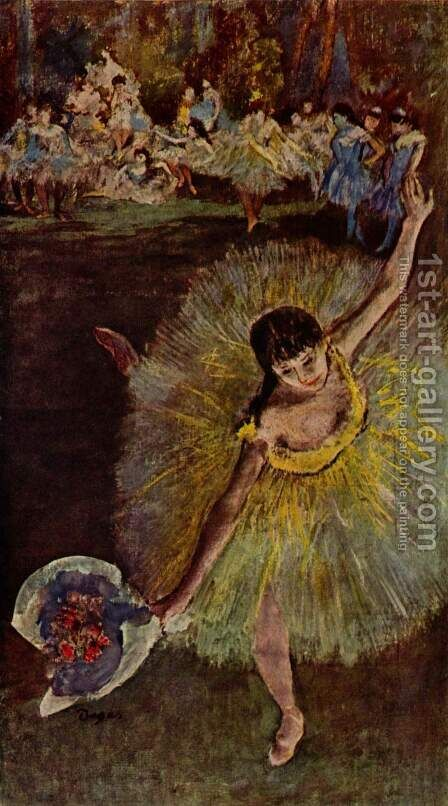 Dancer with Bouquet 2 by Edgar Degas - Reproduction Oil Painting