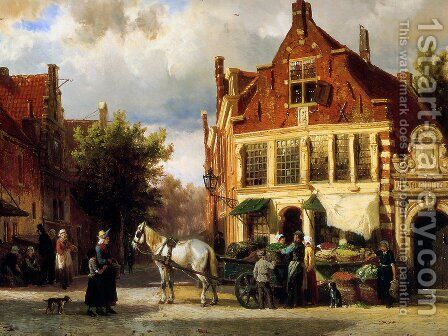 Street scene by Cornelis Springer - Reproduction Oil Painting