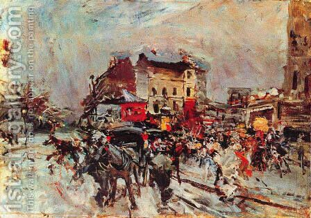Exit of a Costumes Ball in Montmartre by Giovanni Boldini - Reproduction Oil Painting