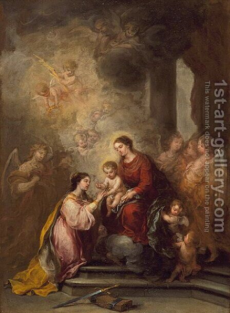 The Mystic Marriage of Saint Catherine by Bartolome Esteban Murillo - Reproduction Oil Painting