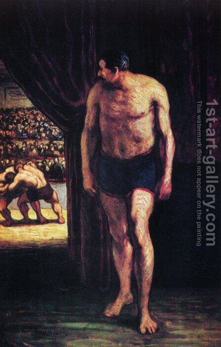 Fighters of circus by Honoré Daumier - Reproduction Oil Painting