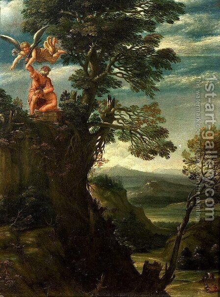 Landscape with the sacrifice of Isaac by Annibale Carracci - Reproduction Oil Painting