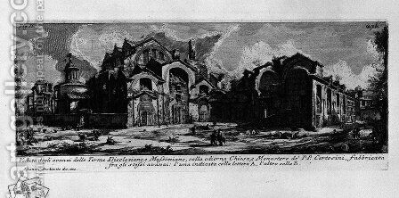 The Roman antiquities, t. 1, Plate XXVIII. Baths of Diocletian. by Giovanni Battista Piranesi - Reproduction Oil Painting