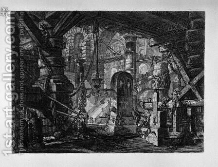 The Pier with Chains by Giovanni Battista Piranesi - Reproduction Oil Painting
