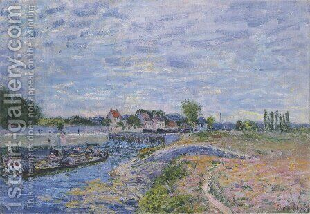 The Dam at Saint Mammes by Alfred Sisley - Reproduction Oil Painting
