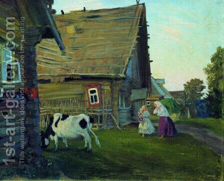 The hut. Kostroma Province by Boris Kustodiev - Reproduction Oil Painting