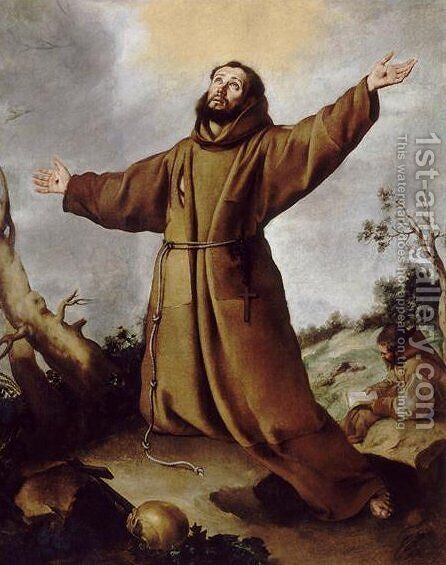 Saint Francis of Assisi Receiving the Stigmata by Bartolome Esteban Murillo - Reproduction Oil Painting