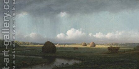 Sudden Showers, Newbury Marshes by Martin Johnson Heade - Reproduction Oil Painting