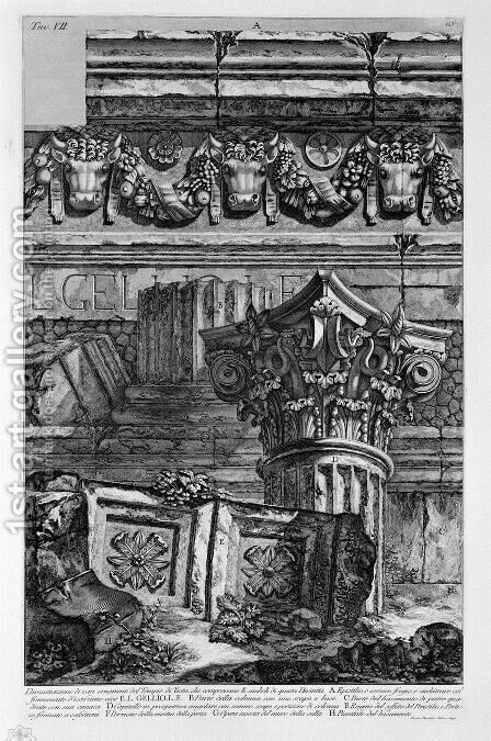 Dimostazione various ornaments of the Temple of Vesta by Giovanni Battista Piranesi - Reproduction Oil Painting