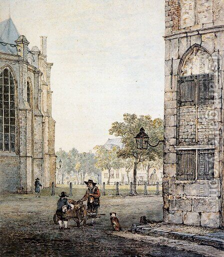 Grotekerksplein in Dordrecht by Jacob van Strij - Reproduction Oil Painting