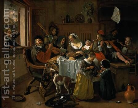 Merry family by Jan Steen - Reproduction Oil Painting