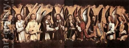 Five Angels Playing Musical Instruments, left hand panel from a triptych from the Church of Santa Maria la Real, Najera by Hans Memling - Reproduction Oil Painting