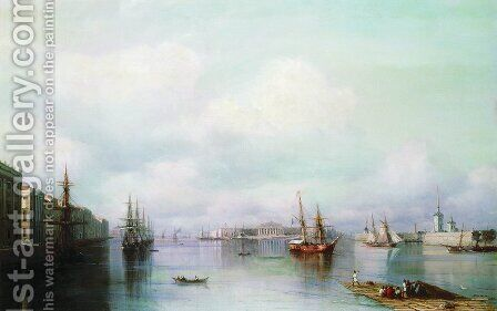 View of Peterburg by Ivan Konstantinovich Aivazovsky - Reproduction Oil Painting