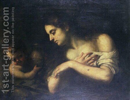 Repentant Magdalene with an angel by Bartolome Esteban Murillo - Reproduction Oil Painting