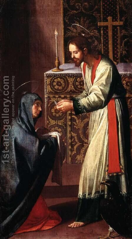 St. John the Evangelist giving communion to the Virgin by Alonso Cano - Reproduction Oil Painting