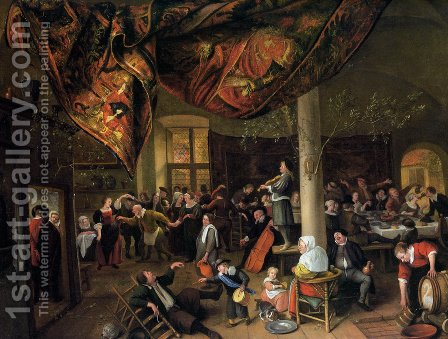 A Village Wedding Feast with Revellers and a dancing Party by Jan Steen - Reproduction Oil Painting