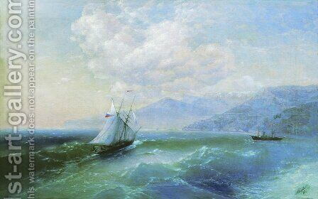 On the coast by Ivan Konstantinovich Aivazovsky - Reproduction Oil Painting