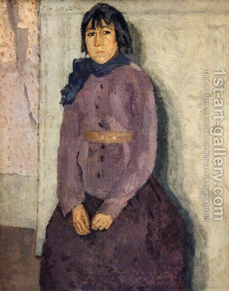 Girl with a Blue Scarf by Gwen John - Reproduction Oil Painting