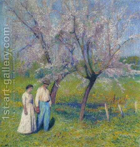 Brides walk under the apple trees by Henri Martin - Reproduction Oil Painting
