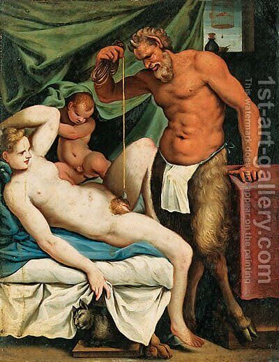 Satyr Mason by Agostino Carracci - Reproduction Oil Painting