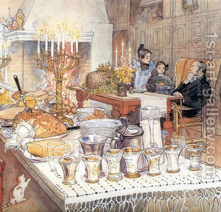 Detail Of Christmas Eve by Carl Larsson - Reproduction Oil Painting