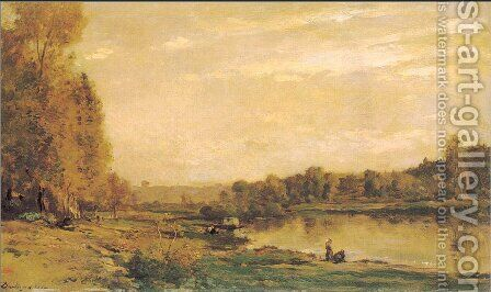 The banks of the Oise 3 by Charles-Francois Daubigny - Reproduction Oil Painting