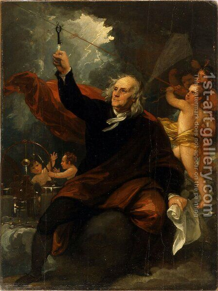 Benjamin Franklin Drawing Electricity from the Sky by Benjamin West - Reproduction Oil Painting