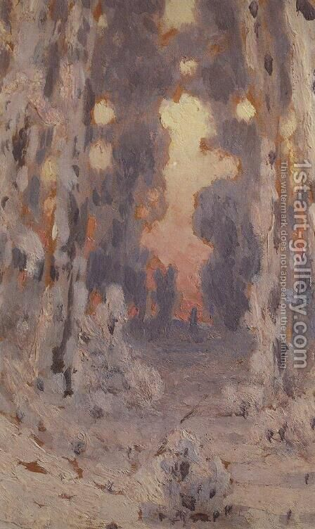 Sunspots on frost. Sunset in the forest by Arkhip Ivanovich Kuindzhi - Reproduction Oil Painting