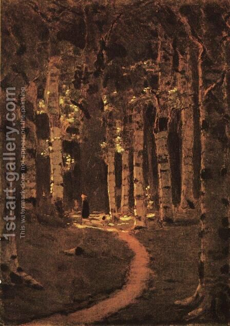 A Birch Grove 5 by Arkhip Ivanovich Kuindzhi - Reproduction Oil Painting