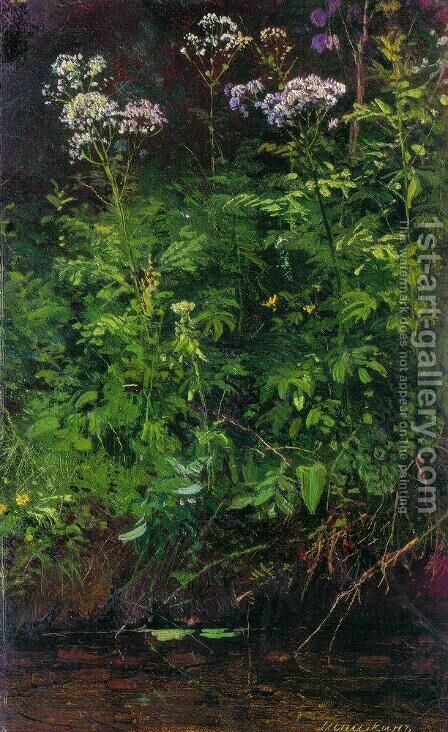 Wildflowers near the water by Ivan Shishkin - Reproduction Oil Painting