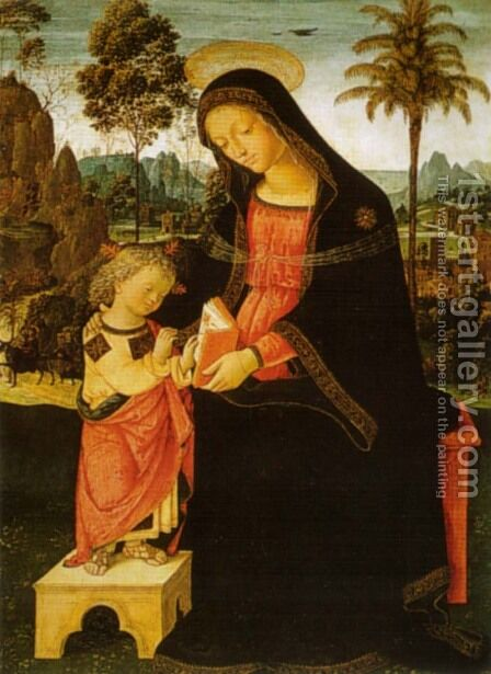Madonna with Writing Child by Bernardino di Betto (Pinturicchio) - Reproduction Oil Painting