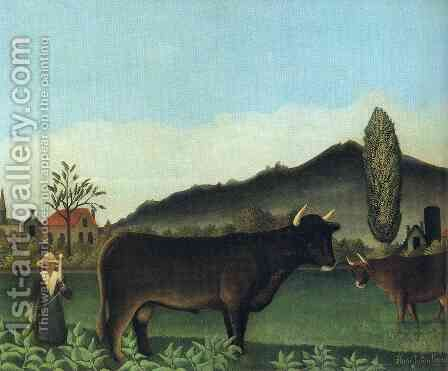 (Landscape with cow) by Henri Julien Rousseau - Reproduction Oil Painting