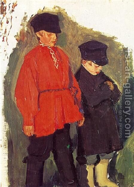 Village Boys by Boris Kustodiev - Reproduction Oil Painting