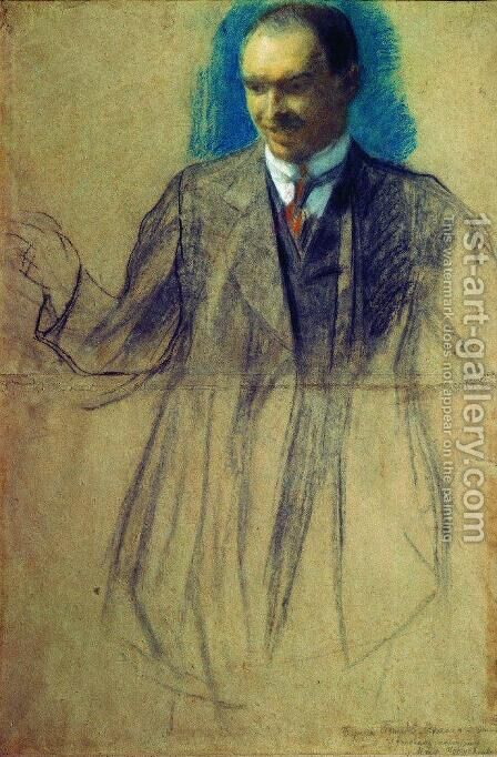 Portrait of K.S. Petrov-Vodkin by Boris Kustodiev - Reproduction Oil Painting
