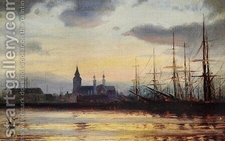 Evening in the Harbour by Ioannis (Jean H.) Altamura - Reproduction Oil Painting
