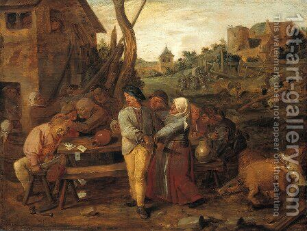 Farmers Fight Party by Adriaen Brouwer - Reproduction Oil Painting