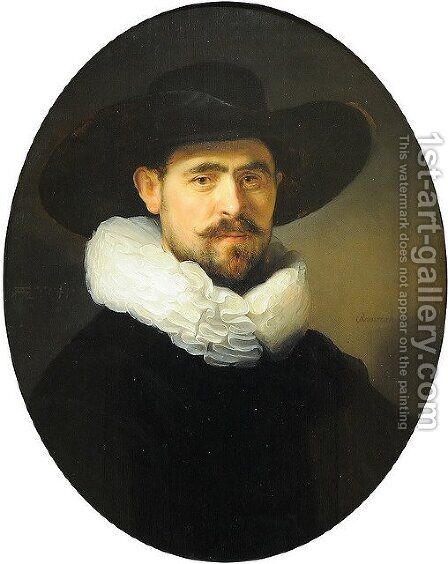 Portrait of a Bearded Man in a Wide Brimmed Hat by Rembrandt - Reproduction Oil Painting