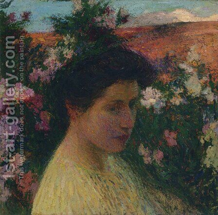 In Flowers by Henri Martin - Reproduction Oil Painting