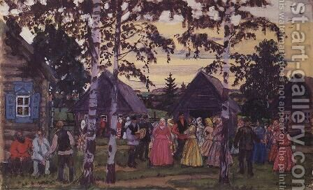 The Khorovod 2 by Boris Kustodiev - Reproduction Oil Painting