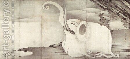 Elephant and Whale (diptych) 2 by Ito Jakuchu - Reproduction Oil Painting