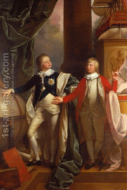 Princes William and Edward by Benjamin West - Reproduction Oil Painting