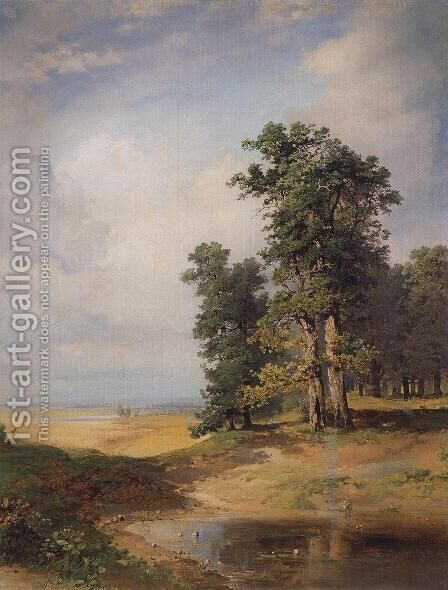 Summer landscape with oaks by Alexei Kondratyevich Savrasov - Reproduction Oil Painting