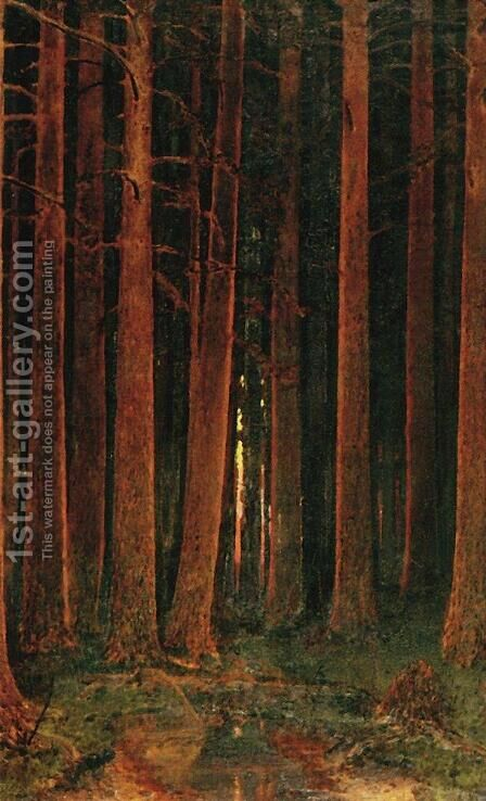 Sunset in the forest 2 by Arkhip Ivanovich Kuindzhi - Reproduction Oil Painting